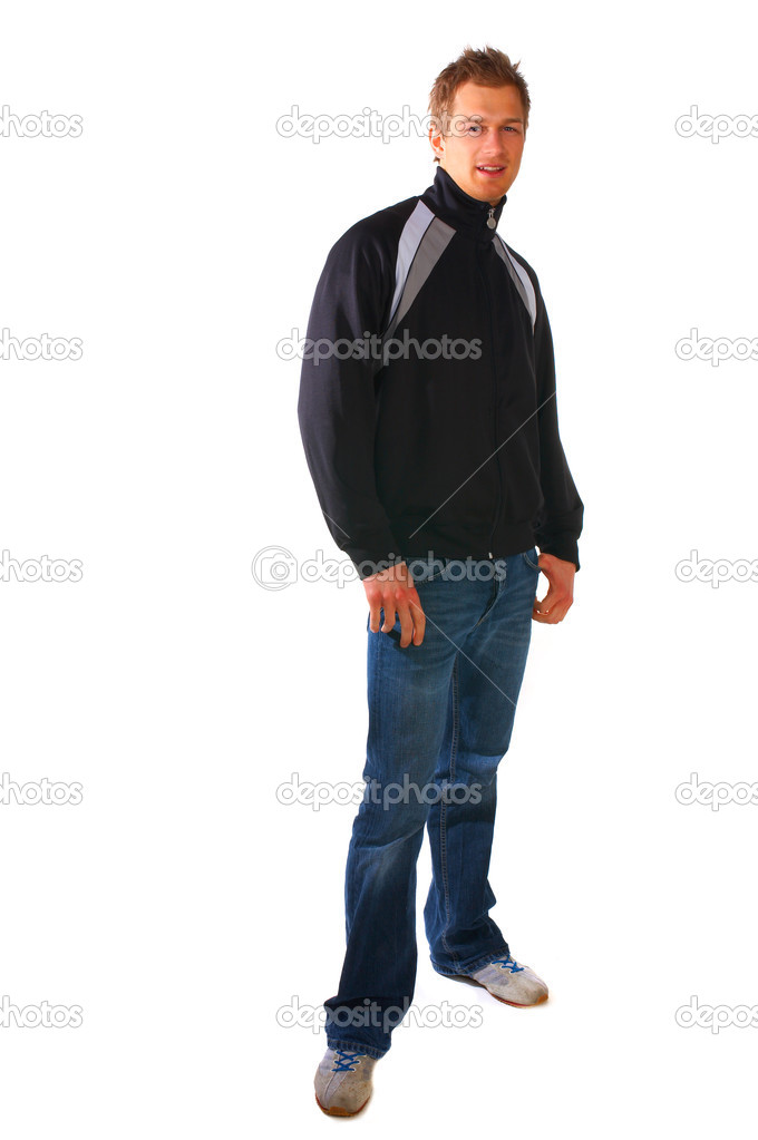 Studio pictures of young college student, who is looking casual and cool. — Stock Photo #3217413