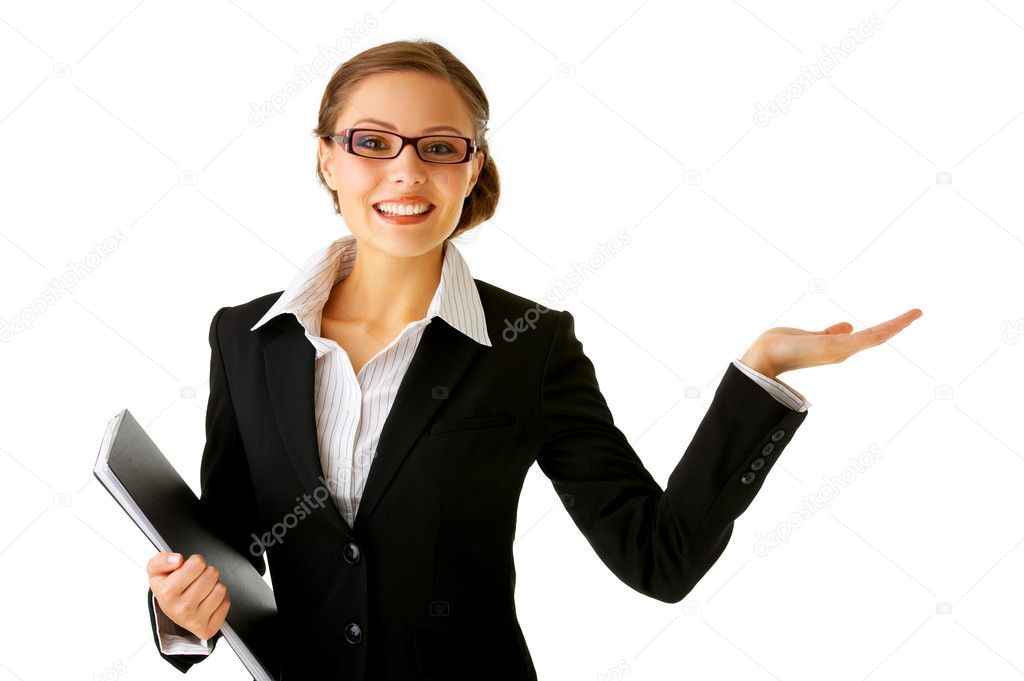 Portrait of a young businesswoman. with her hand outstretched, as though she is presenting something. — Stock Photo #3219864