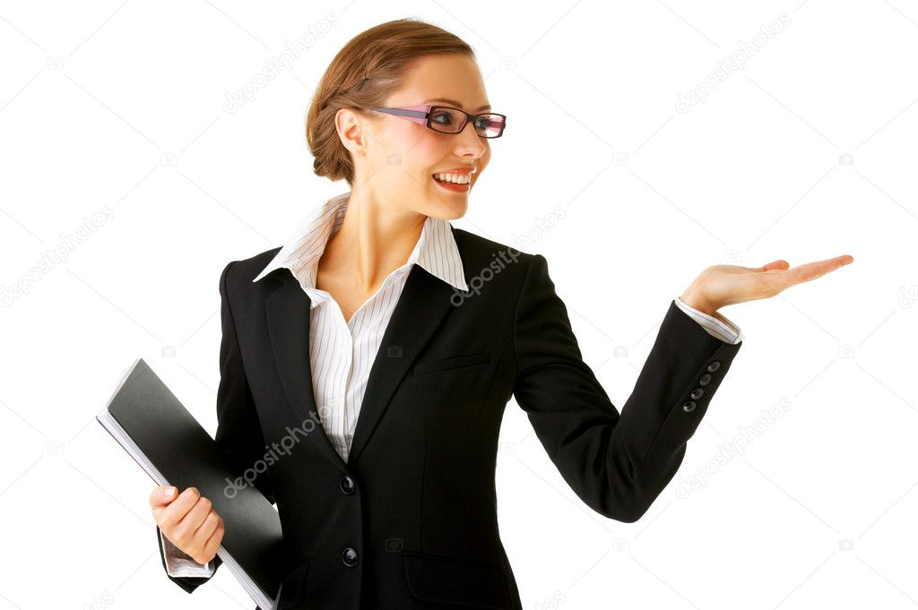 Portrait of a young businesswoman. with her hand outstretched, as though she is presenting something. — Stock Photo #3219867