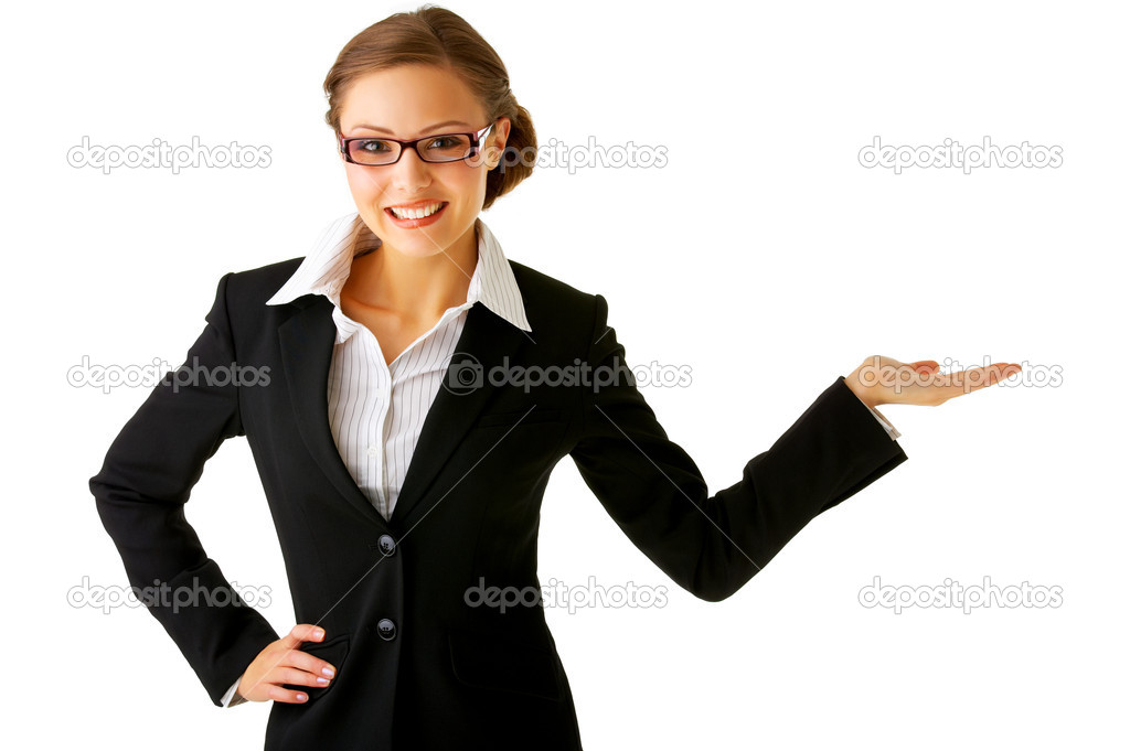 Portrait of a young businesswoman. with her hand outstretched, as though she is presenting something. — Stock Photo #3219873