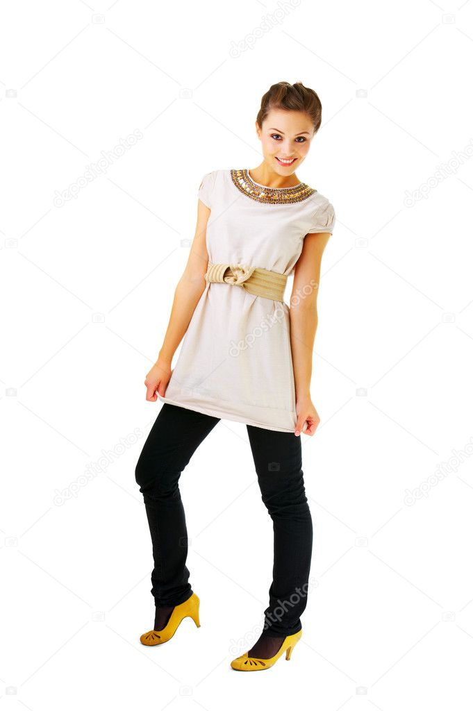Fashionable female portrait - Fashion full body shot of a gorgeous young girl posing. Isolated. — Stock Photo #3219977