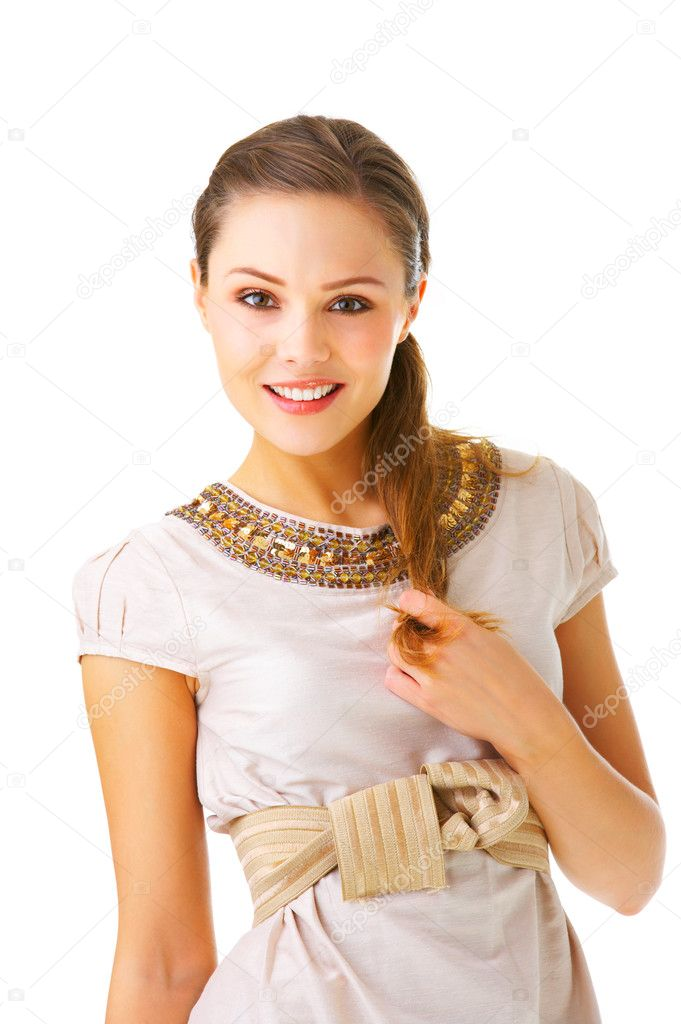 An isolated fashion portrait of a beautiful young girl in fashionable clothes. — Stock Photo #3219981