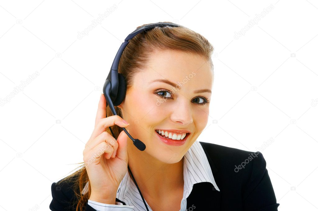 Isolated portrait of a beautiful helpdesk or support line operator answering a call.  Stock Photo #3219992