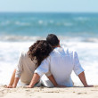 Rear view of a couple sitting on beach - Photo