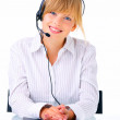 Hotline operator with headset - Stockfoto