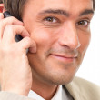 Royalty-Free Stock Photo: Business man using cellphone, close up