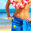 Beautiful Woman with a Hawaiin Lei - Stock Photo