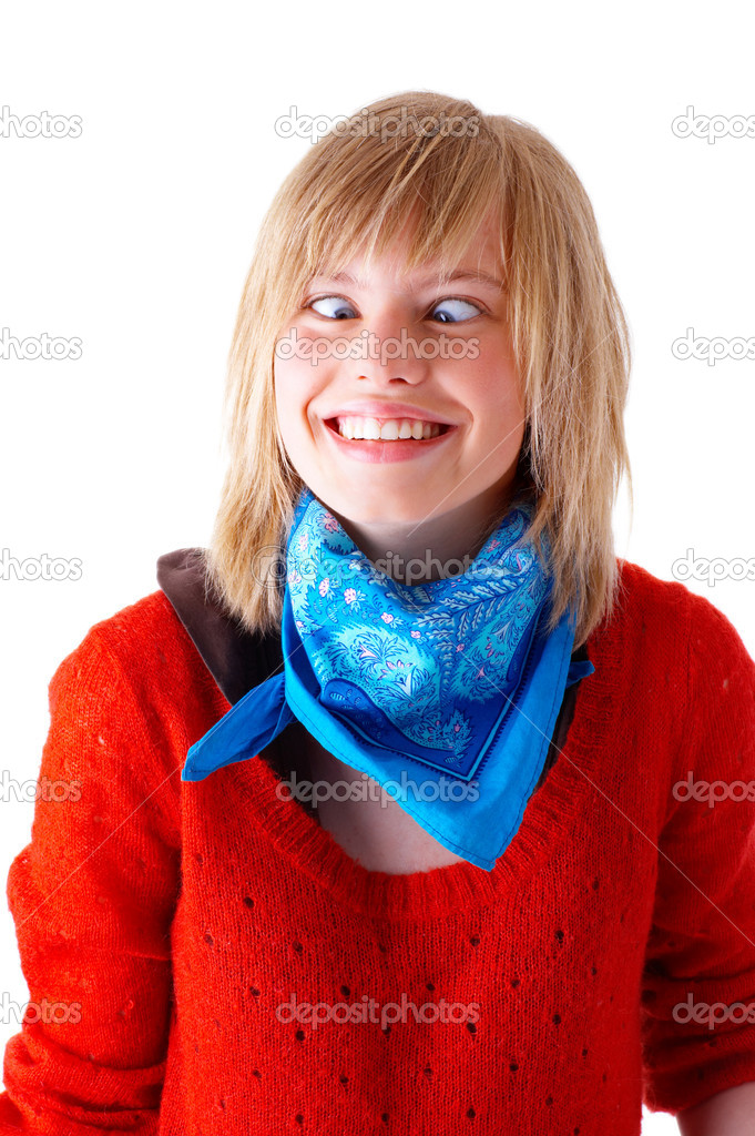 Portrait of a happy young blonde girl smiling and pulling a cross-eyed face. Wearing blue scarf and red sweater. This collections unique keyword is: emma123 — Stock Photo #3221240