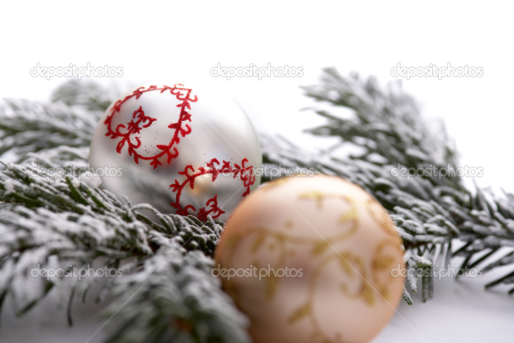 Two Christmas decorating bulbs and a snowy branch. — Stock Photo #3223292