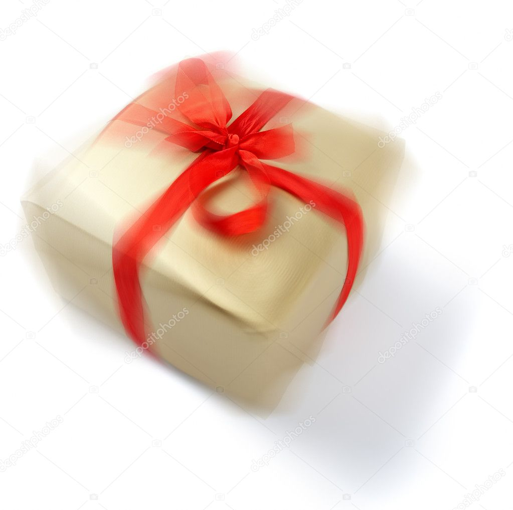 Isolated picture of a spinning wrapped christmas present. — Stock Photo #3223414