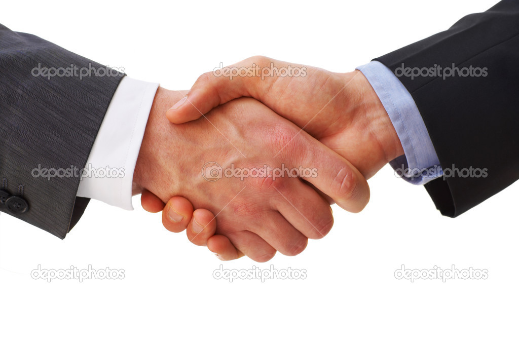 Businesspeople shaking hands, finishing up a meeting.  Foto de Stock   #3223741