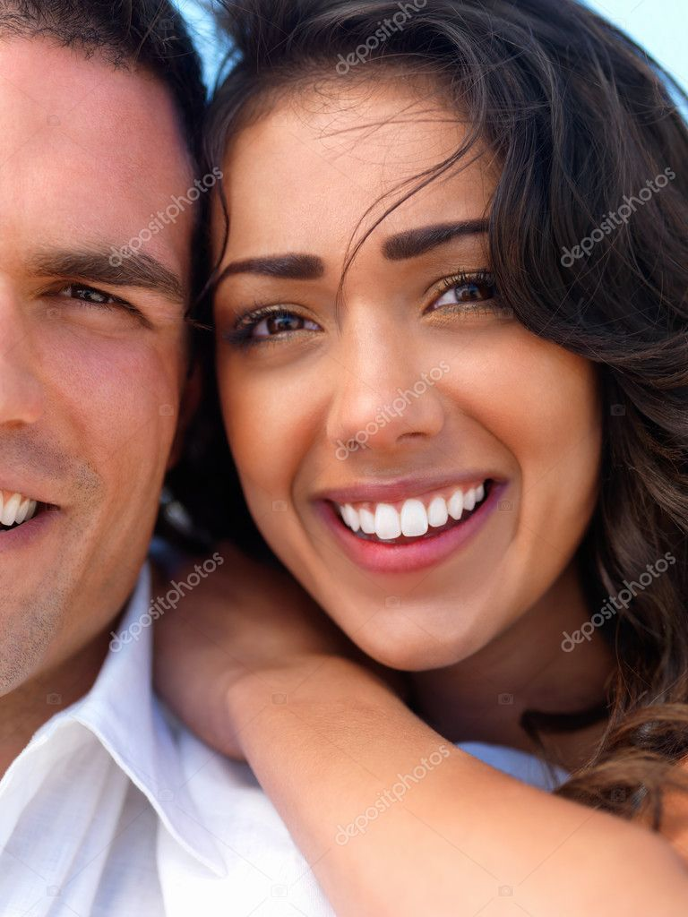 Close up portrait of a happy young couple in love  Stock Photo #3225360