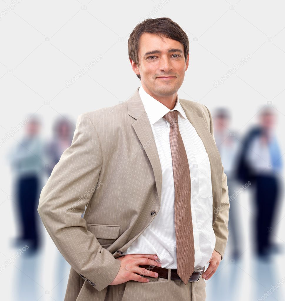 Full body portrait of a casual business man standing against white background  Foto de Stock   #3227078