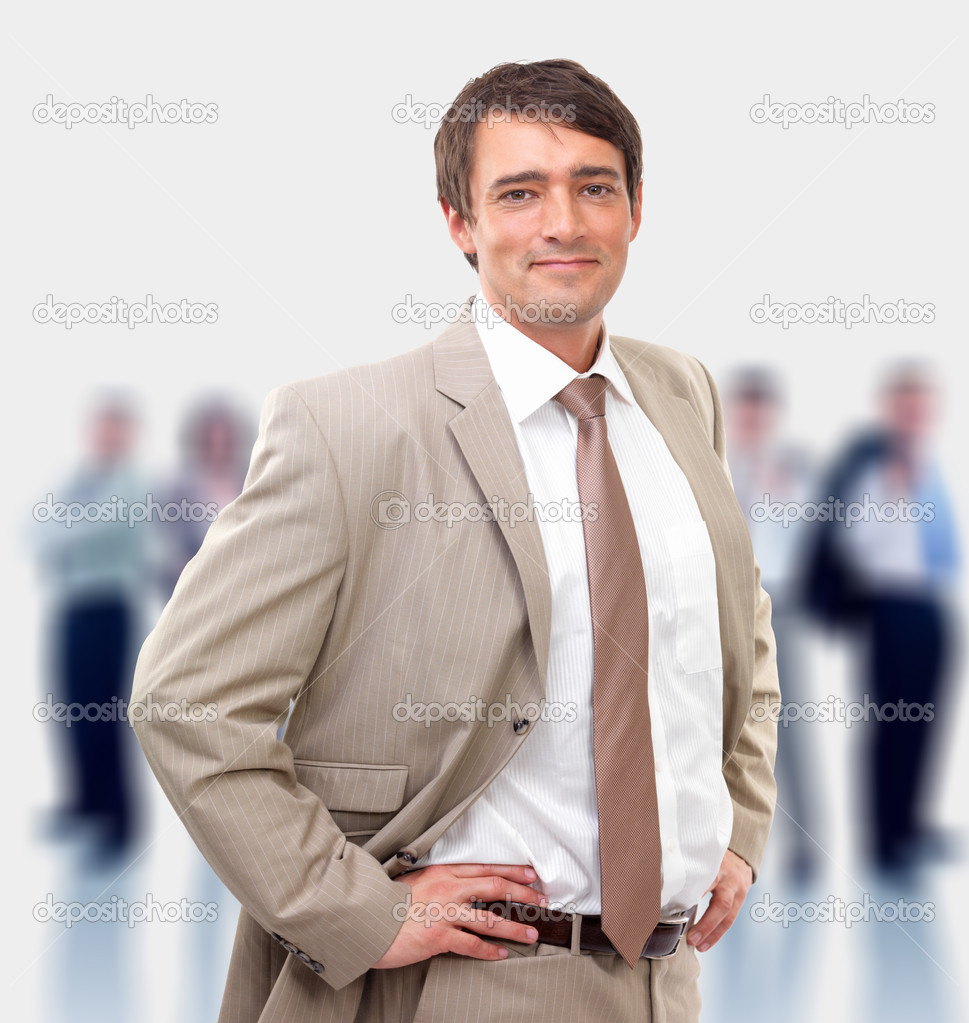 Full body portrait of a casual business man standing against white background — Stok fotoğraf #3227078