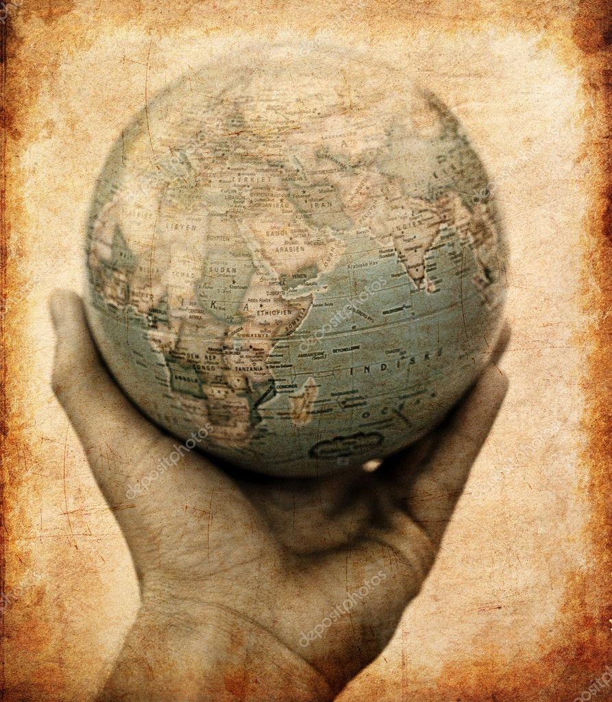 A hand holding out the planet earth. Global awareness, added grunge effects and border to give vintage ancient look.  Stock Photo #3227194