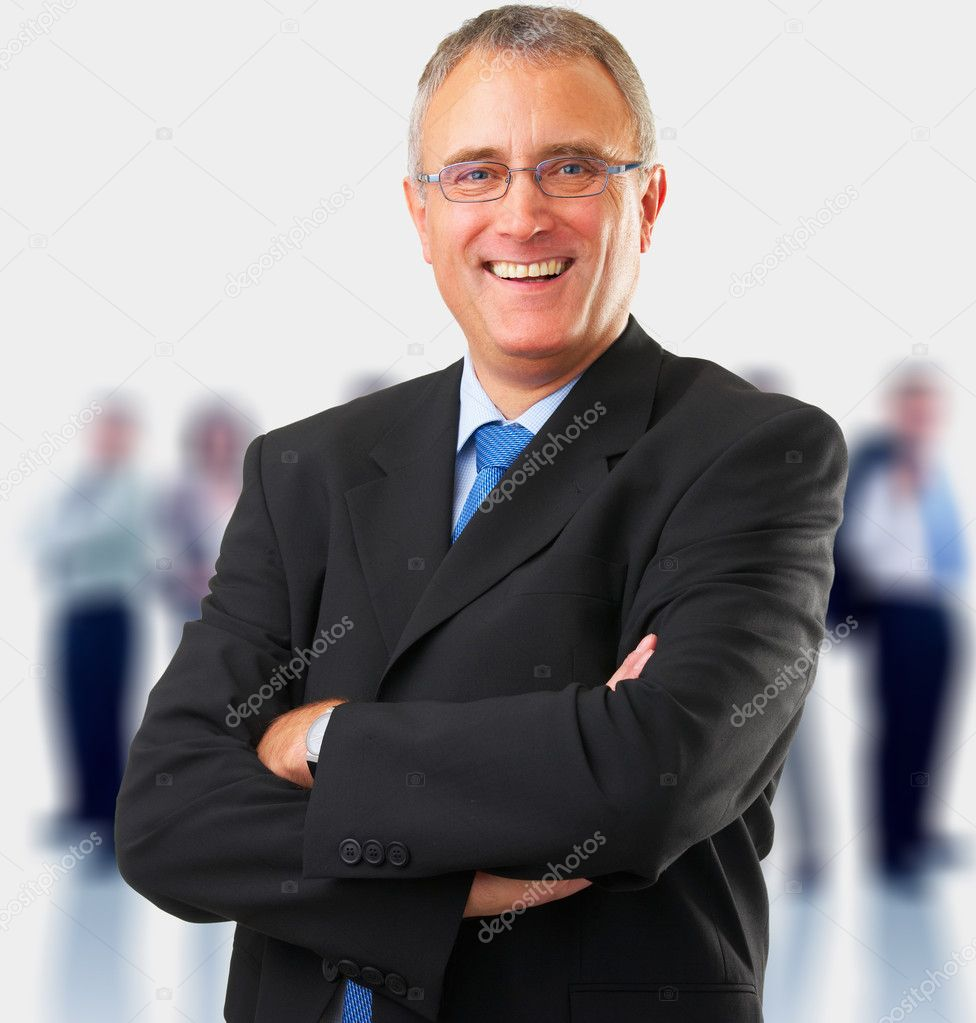 Full body portrait of a casual business man standing against white background — Stock Photo #3227272