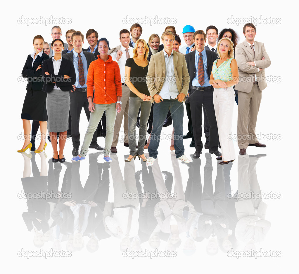 Big group or crowd of isolated small in a line — Stock Photo #3227287