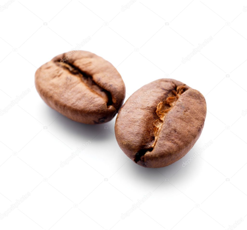 Isolated macro shot of coffee beans — Stock Photo #3228387