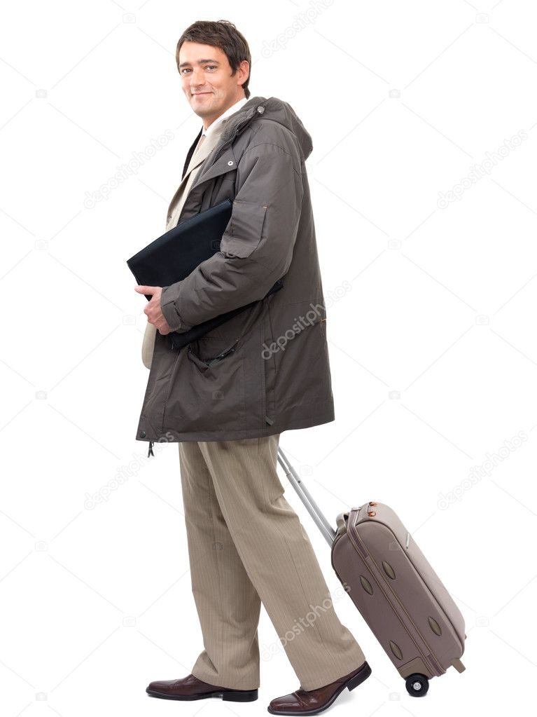 Portrait of a smiling business man with luggage bag and folder. About to go on a travel. Isolated on white background. — Stock Photo #3228497