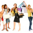 Four isolated girls out for shopping. - Stock Photo