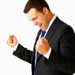 Royalty-Free Stock Photo: One very happy energetic businessman with his arms raised