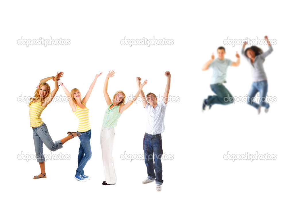 Jumping and smiling.  Stock Photo #3230007