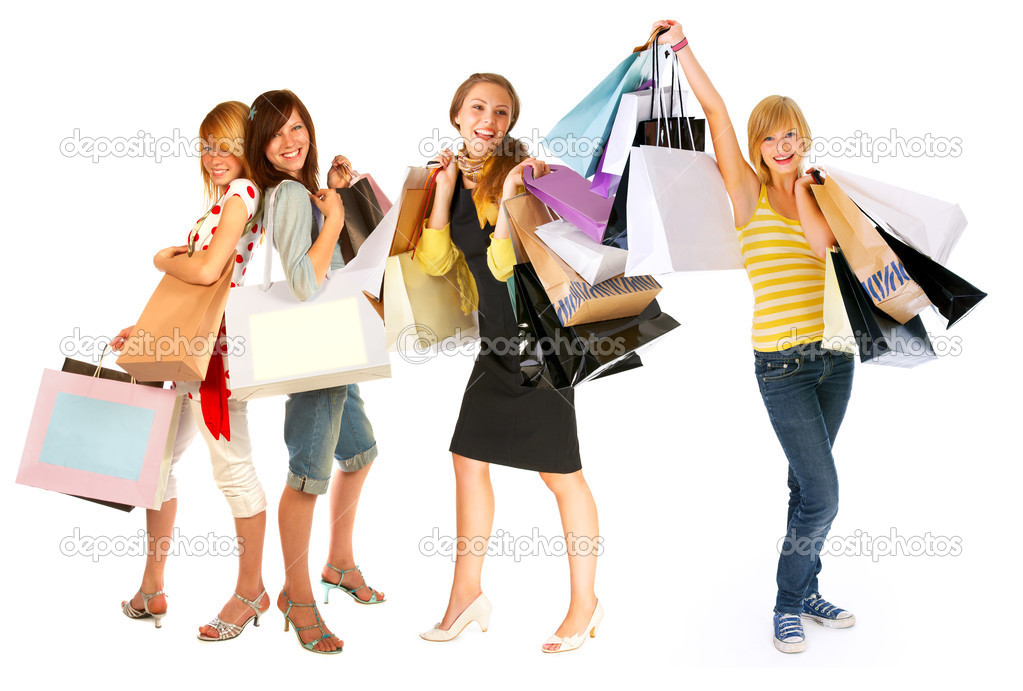 Four isolated girls out for shopping isolated on a white background-  — Stock Photo #3230027