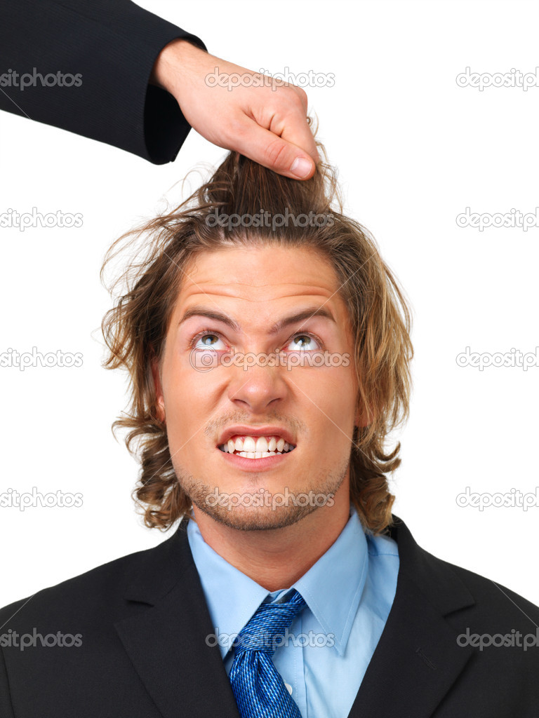 Stress and frustration? Angry businessman being pulled by the hair, conceptual  Stock Photo #3232927