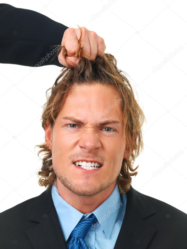 Angry businessman being pulled by the hair.Grotesque, crazy and comic conceptual picture about frustration. — Stock Photo #3232929