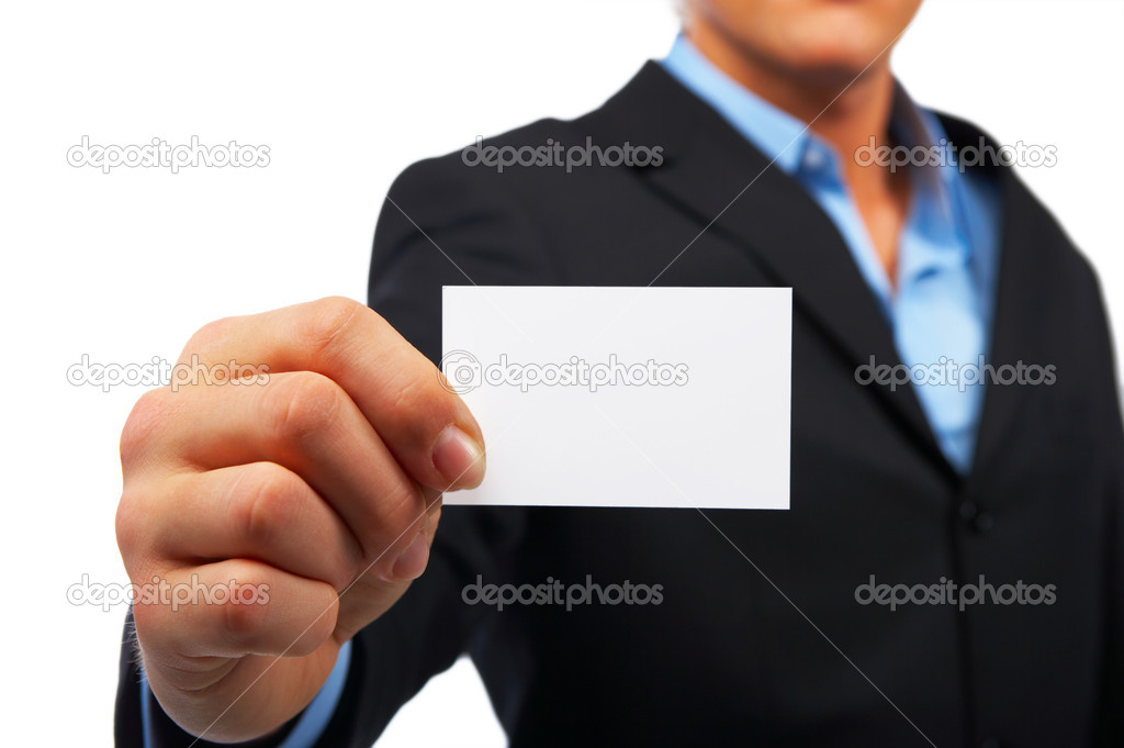 A studio shot of a businessman holding out a blank business card. Room for text, or your own message. — Foto Stock #3233463