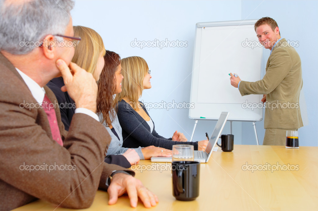 Photograph of a European-style business presentation. Isolated on a 100% white background. — Stock Photo #3235667