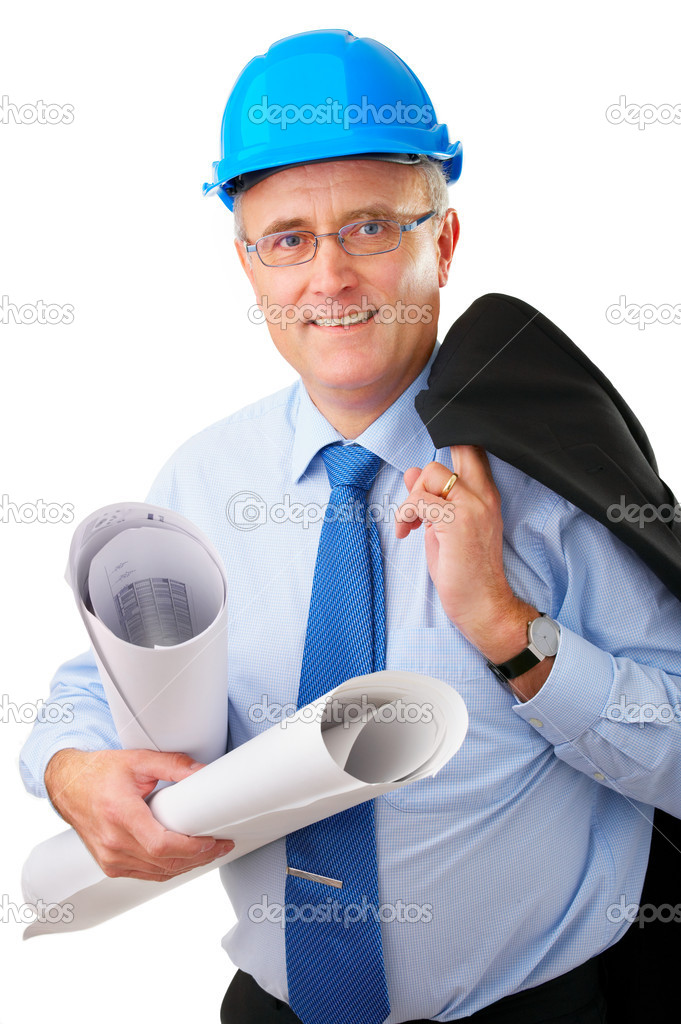 Senior construction worker with helmet and blueprints — Stock Photo #3237719