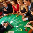 BlackJack Table. Friends having a good time! - Stock Photo