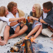 Young friends drinking beer by fire on beach - Stock Photo