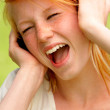 Royalty-Free Stock Photo: Young Teenage Girl Singing along
