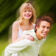 Royalty-Free Stock Photo: Piggyback with motionblur
