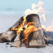 Close-up of Bonfire at beach - Stock Photo