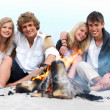 Young couples enjoying bonfire at beach in summer - Stock Photo
