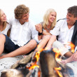 Royalty-Free Stock Photo: Young couples in casual sitting by bonfire at beach