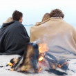 Royalty-Free Stock Photo: Young Couples sitting by bonfire at beacc