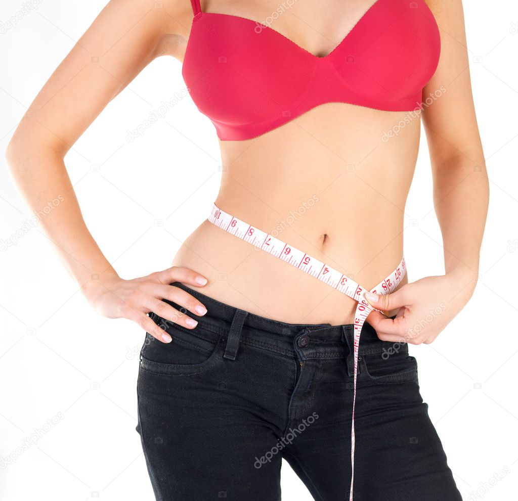 Healthcare and fitness - Measuring tape around a stomach  — Stock Photo #3240842