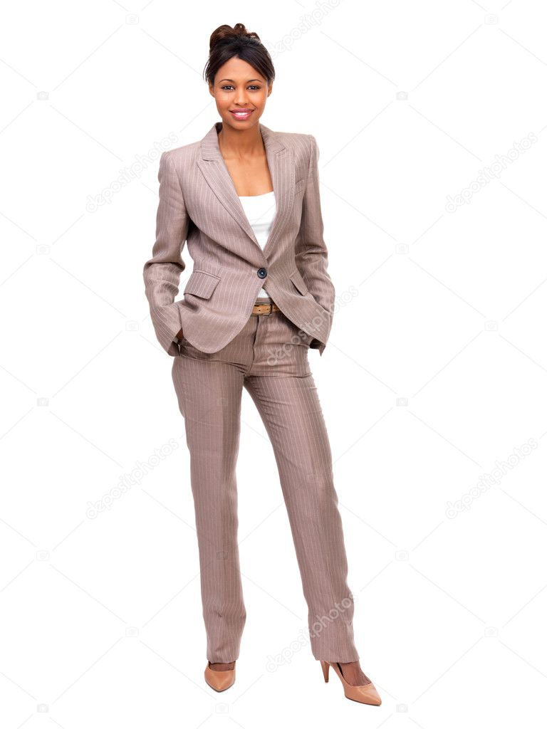 Full body portrait of a businesswoman posing against white background — Stock Photo #3242163