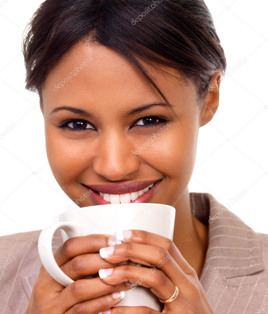 Portrait of cheerful businesswoman holding coffee cup against white background — Stock Photo #3242338
