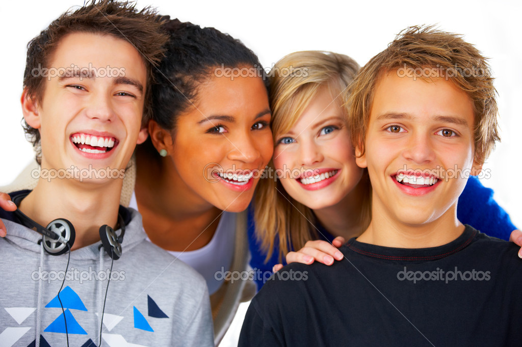 Four young students lined up for a portrait. — Stock Photo #3244582