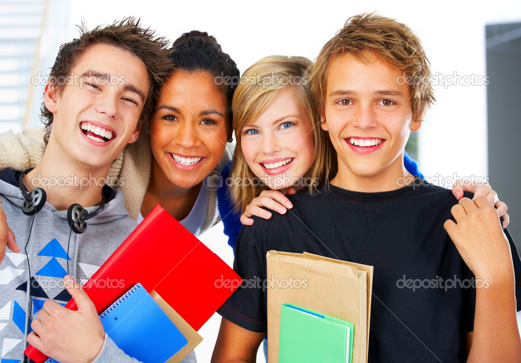 Four young students lined up for a portrait. — Stock Photo #3244593