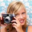 Royalty-Free Stock Photo: Close up of a girl clicking camera