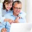 Royalty-Free Stock Photo: Happy senior businesspeople using laptop