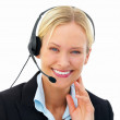 Royalty-Free Stock Photo: Portrait of a business woman wearing headset isolated on white b