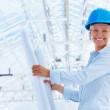 Royalty-Free Stock Photo: Happy female architect holding blueprint at construction site