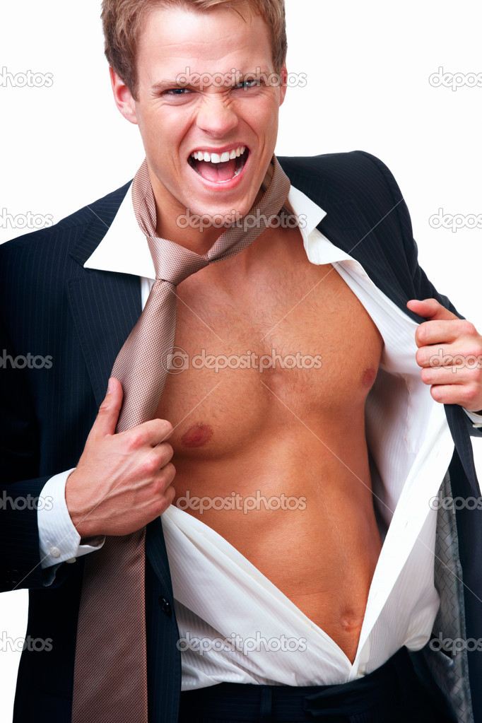 Closeup of a happy businessman showing his personality against isolated white background — Stock Photo #3268691